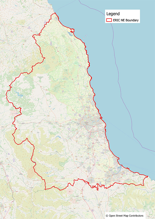 Map showing ERIC NE boundary